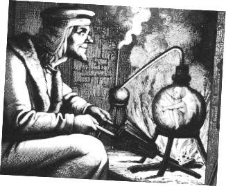 Ein Stich eines Homunkulus aus dem 19. Jahrhundert (rechts). Anerkennung.