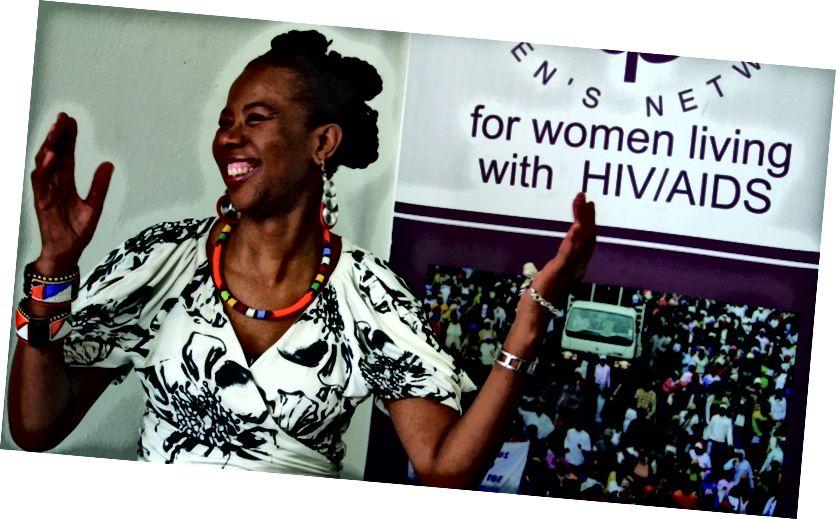 Покойная Пруденс Мабеле, основатель и исполнительный директор сети «Позитивные женщины», которая в 1992 году открыла в Южной Африке публичную информацию о своем ВИЧ-положительном статусе. Изображение предоставлено: PRI