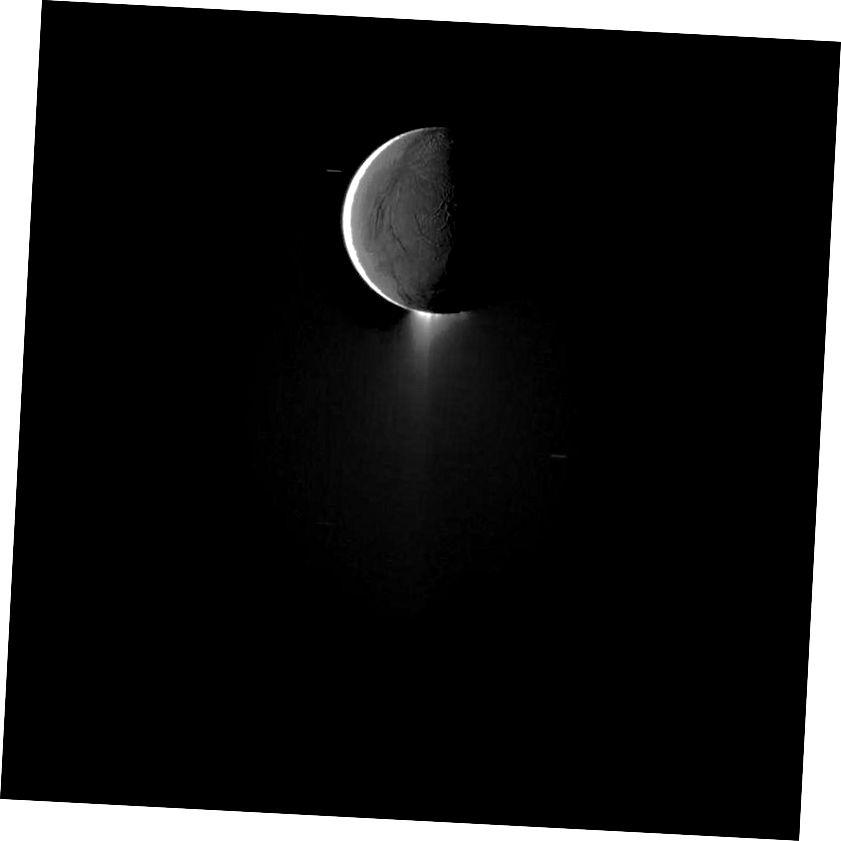 Seo í an ghealach mistéireach Satarnach, Enceladus, agus a géag soilsithe ag an nGrian, a aghaidh soilsithe ag solas a léirítear as Satarn, agus brúchtadh dírithe síos, i dtreo lár na híomhá. Creidmheas íomhá: Le caoinchead NASA.
