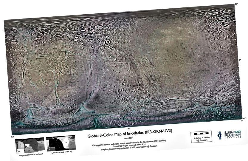 Léarscáil de thíreolaíocht dromchla Enceladus, a thaispeántar ar an gcaoi chéanna le léarscáileanna den Domhan i dteilgean Mercator. Creidmheas íomhá: NASA / Cassini / Fochóras Eolaíochta Íomháithe / Paul Schenk / Institiúid Gealaí agus Pláinéadach.