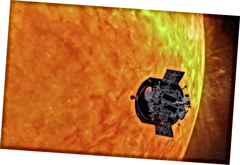 En kunstners koncept af Parker Solar Probe nærmer sig Solen. Kredit: JHUAPL