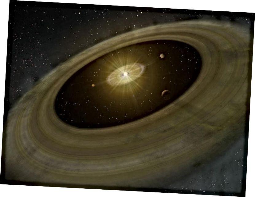 """Ilustracja dysku protoplanetarnego, na którym najpierw tworzą się planety i planetozymale, tworząc wtedy """"szczeliny"""" na dysku. Około cztery do pięciu miliardów lat temu, kiedy formował się nasz Układ Słoneczny, ciemna energia jednocześnie zdominowała tempo ekspansji i gęstość energii Wszechświata. Źródło zdjęcia: NAOJ."""