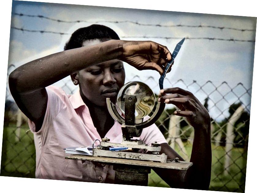 איסוף נתוני גשמים בתחנה המטאורולוגית סורוטי באוגנדה למדידת שעות אור השמש. להשקעה בשירותי הידרום יש תשואה מוערכת פי חמישה או יותר בהתפתחות הכלכלית. צילום: התאמת שינויים באקלים של UNDP / לוק מקפה