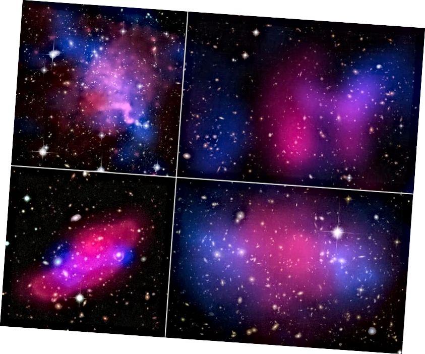 Τέσσερα συγκρούσιμα γαλαξιακά σμήνη, που δείχνουν τον διαχωρισμό μεταξύ ακτίνων Χ (ροζ) και βαρύτητας (μπλε), ενδεικτικό της σκοτεινής ύλης. Σε μεγάλες κλίμακες, η ψυχρή σκοτεινή ύλη είναι απαραίτητη και δεν θα υπάρξει εναλλακτική ή υποκατάστατη. (Ακτίνες Χ: NASA / CXC / UVic. / A. Mahdavi et al. Οπτική / Φακός: CFHT / UVic. / A. Mahdavi et al. (επάνω αριστερά); Ακτίνες Χ: NASA / CXC / UCDavis / W.Dawson et al.; Optical: NASA / STScI / UCDavis / W.Dawson et al. (επάνω δεξιά); ESA / XMM-Newton / F. Gastaldello (INAF / IASF, Μιλάνο, Ιταλία) / CFHTLS (κάτω αριστερά); Ακτίνες Χ: NASA, ESA, CXC, M. Bradac (Πανεπιστήμιο της Καλιφόρνια, Santa Barbara) και S. Allen (Πανεπιστήμιο Stanford) (κάτω δεξιά ))