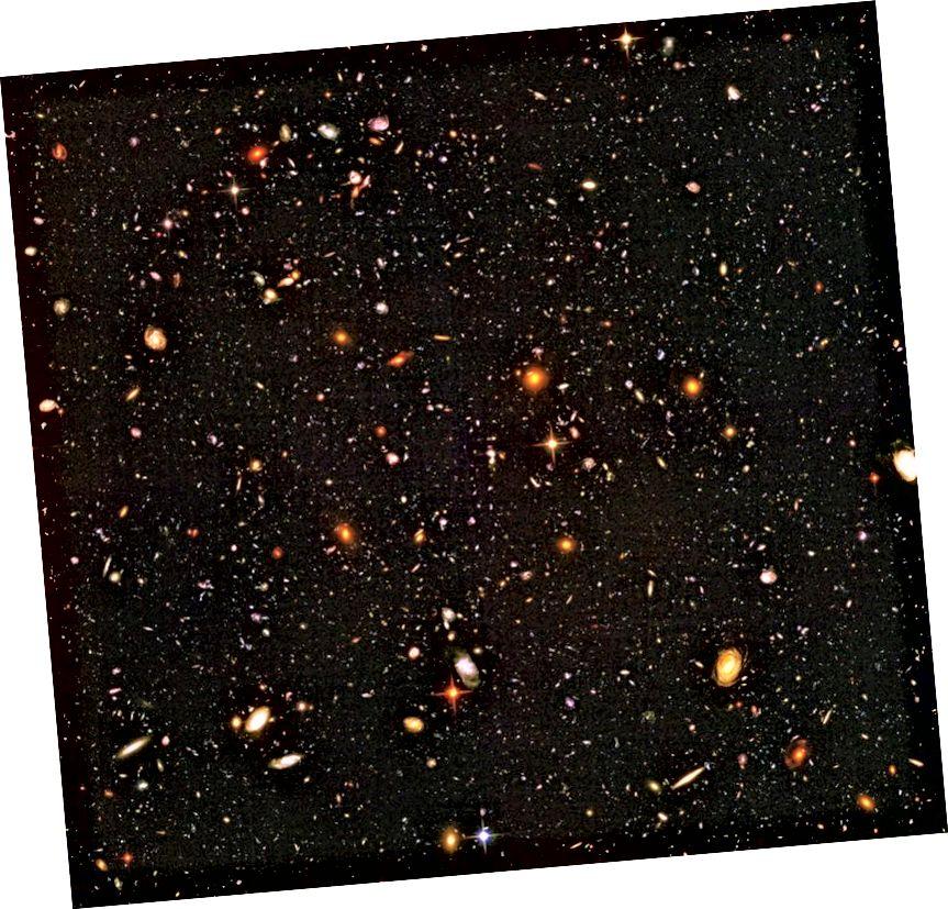 Տիեզերքի ծայրահեղ հեռավոր տեսքը ցույց է տալիս, որ գալակտիկաները հեռանում են մեզնից ծայրահեղ արագությամբ: Այդ հեռավորությունների վրա գալակտիկաները հայտնվում են ավելի շատ, փոքր, ավելի քիչ զարգացած և վերածվում են մեծ վերափոխումների ՝ մոտակայքում գտնվողների համեմատությամբ: Պատկերային վարկ. NASA, ESA, R. Windhort և H. Yan.