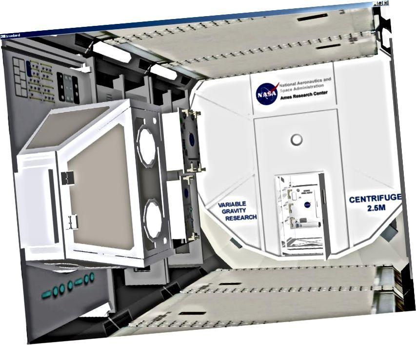 Віртуальны інструмент IronBird для CAM (Centrifuge Accommodation Module) - адзін са спосабаў стварэння штучнай гравітацыі, але патрабуе шмат энергіі і дазваляе толькі вельмі спецыфічны тып сілы, які шукае цэнтр. Сапраўдная штучная гравітацыя запатрабуе чагосьці паводзіць сябе з адмоўнай масай. Малюнак: NASA Ames.