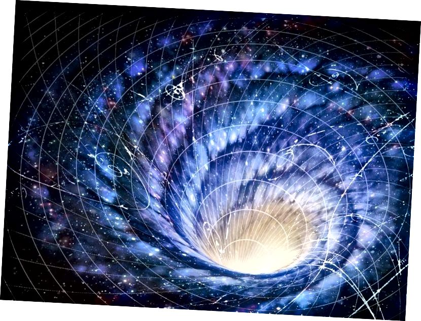 Гэта не проста асобная галактыка, якая круціцца, ствараючы закрытыя часовыя крывыя, але і ўся Сусвет у глабальным маштабе. Малюнак: Універсітэт Уорыка.