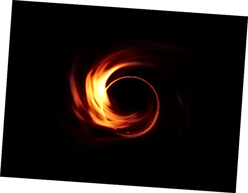 Мадэляванне таго, што лічаць астраномы, можа выглядаць першая выява чорнай дзіркі