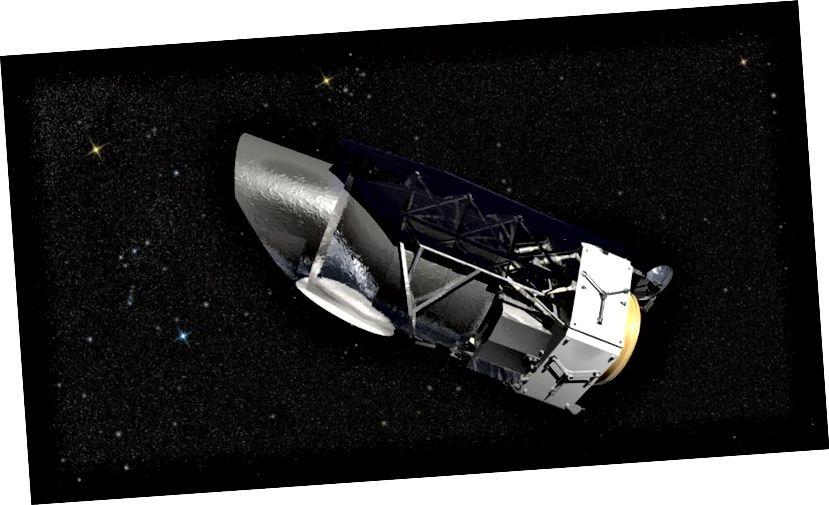 Канцэптуальны здымак спадарожніка НАСА WFIRST, які павінен быў запусціцца ў 2024 годзе і дасць нам самыя дакладныя вымярэнні цёмнай энергіі, сярод іншых неверагодных касмічных знаходак. Малюнак: НАСА / GSFC / Канцэптуальная лабараторыя малюнкаў.