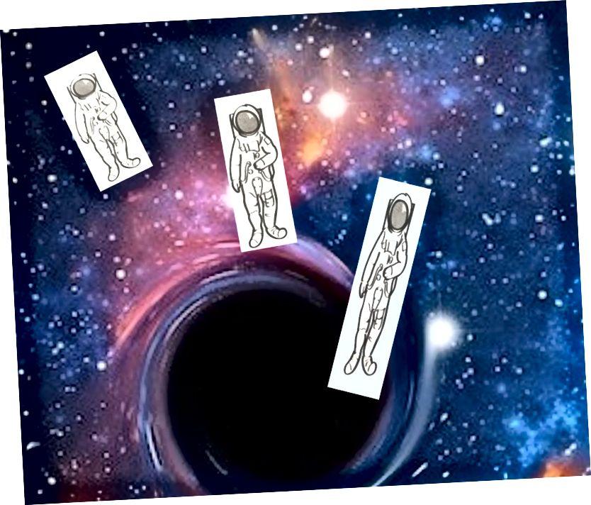 Нязграбны касманаўт губляе ногі і кідаецца ў бок чорнай дзіркі - спагетыфікуецца на гэтым шляху.