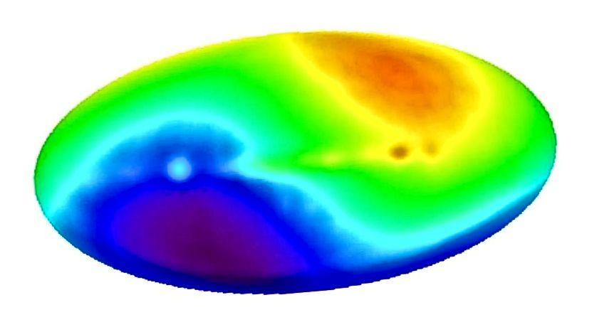 Der von COBE gemessene CMB-Dipol repräsentiert unsere Bewegung durch das Universum relativ zum Restrahmen des CMB. Bildnachweis: DMR, COBE, NASA, Vierjahres-Himmelskarte.