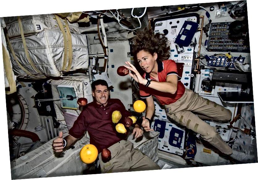 Astronauten und Obst an Bord der Internationalen Raumstation. Beachten Sie, dass die Schwerkraft nicht ausgeschaltet ist, sondern dass alles - einschließlich des Raumfahrzeugs - gleichmäßig beschleunigt wird, was zu einem Null-g-Erlebnis führt. Die ISS ist ein Beispiel für einen Trägheitsreferenzrahmen (PUBLIC DOMAIN IMAGE).