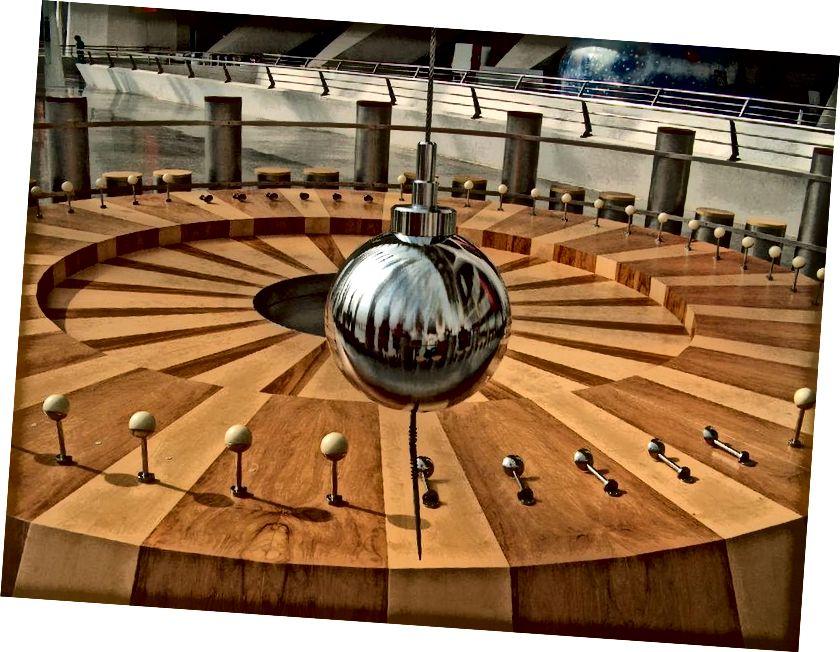 Dieses Foucault-Pendel, das in Aktion auf der Ciudad de las Artes y de las Ciencias de Valencia in Málaga, Spanien, ausgestellt ist, dreht sich im Laufe eines Tages und schlägt verschiedene Stifte (auf dem Boden abgebildet) nieder, während es schwingt und die Erde rotiert . (DANIEL SANCHO / FLICKR)