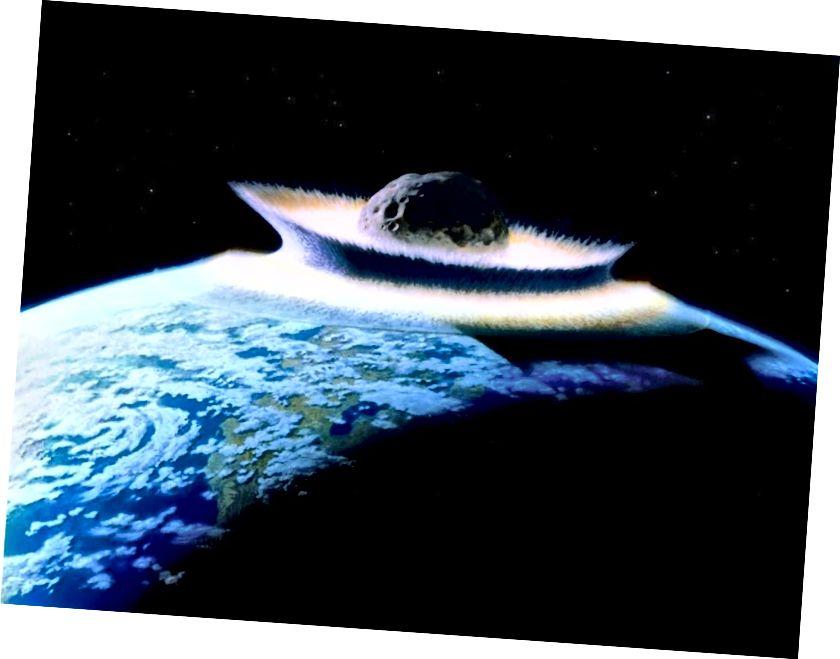 Камета ці астэроід, які здзейсніў наезд на Зямлю, таму што ён быў выяўлены недастаткова хутка, - гэта адна з найвялікшых прыродных пагроз чалавецтву і патэнцыйна можа стаць яшчэ горшай, чым падзея вымірання 65 мільёнаў гадоў таму. Няўжо гэтыя перыяды вымірання перыядычныя ці не, даўно стала спрэчкай. Але новы аналіз, магчыма, нарэшце паклаў гэтую спекулятыўную вобласць навукі на адпачынак. (НАСА / Дон Дэвіс)