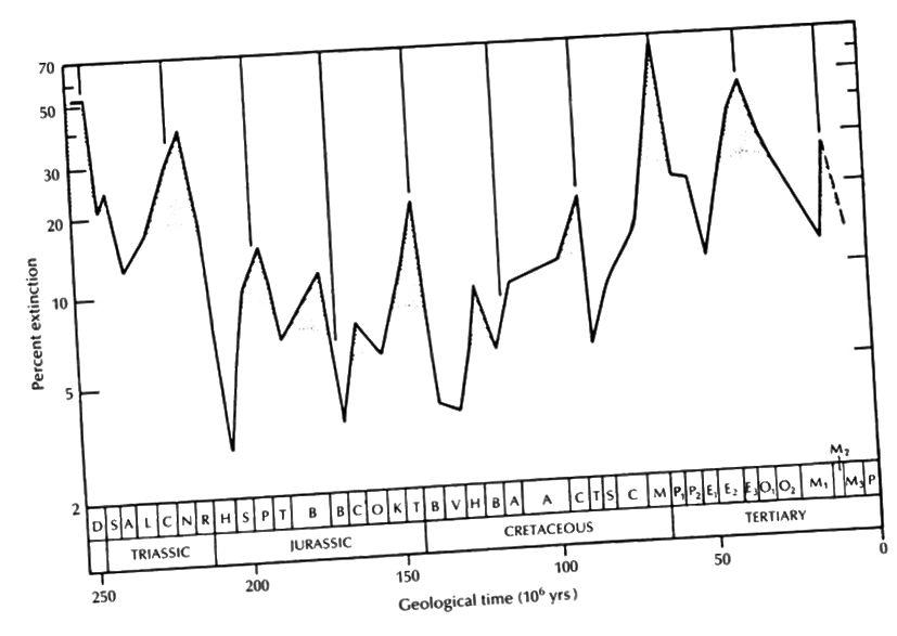 Па задуме, масавыя вынікі выбуху могуць здацца перыядычнымі, але вочы могуць нас падмануць. (Raup & Sepkoski, 1984/1986)