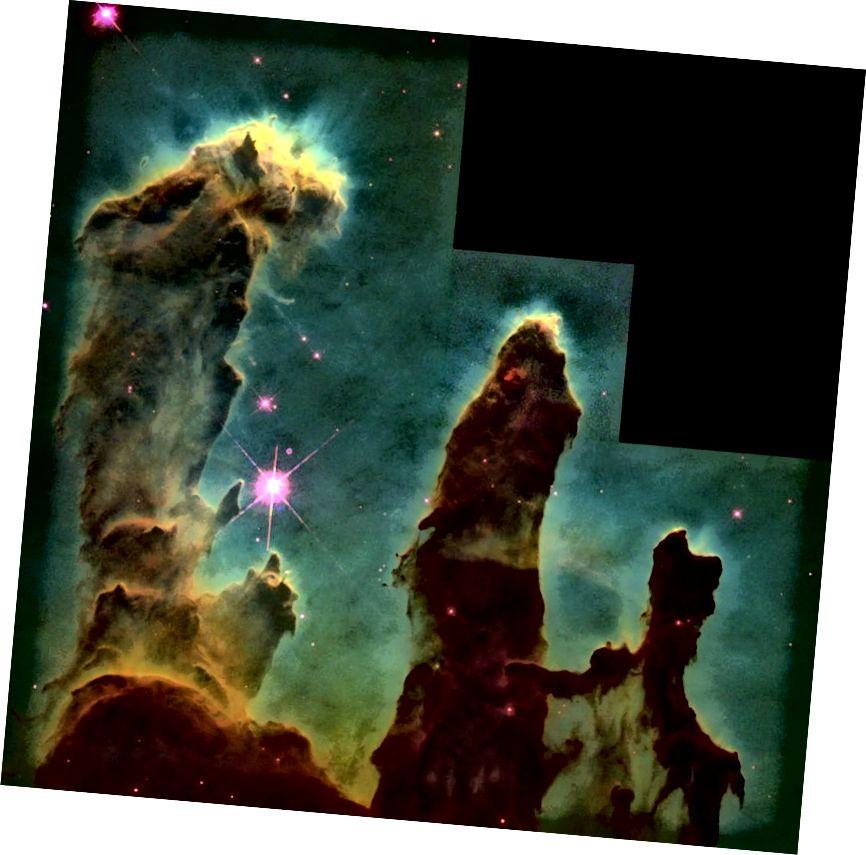 Первоначальное изображение Столпов творения представляло собой мозаику из множества различных изображений и фильтров, но, как ни круто, оно бледнеет по сравнению с более поздними данными. Фото предоставлено НАСА, Джеффом Хестером и Полом Скоуэном (Университет штата Аризона).