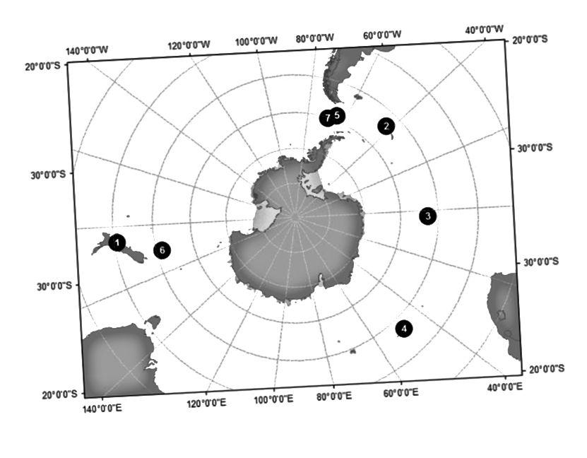 Abb. 1 Standorte einer Strandung (1) und sechs Sichtungen auf See (2–7) von subantarktischen Killerwalen (Orcinus orca), Typ D. (doi: 10.1007 / s00300–010–0871–3)