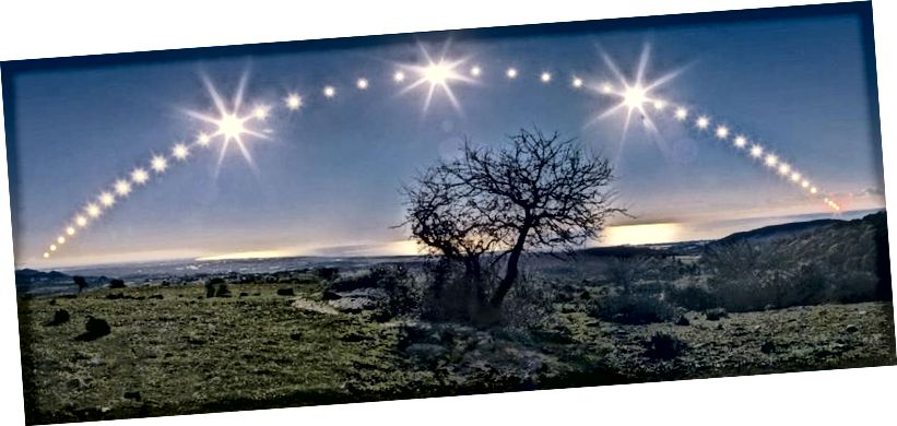 Từ bán cầu bắc, ngày đông chí đánh dấu con đường thấp nhất, ngắn nhất mà Mặt trời đi trên bầu trời. Tín dụng hình ảnh: Danilo Pivato của http://www.danilopivato.com/.