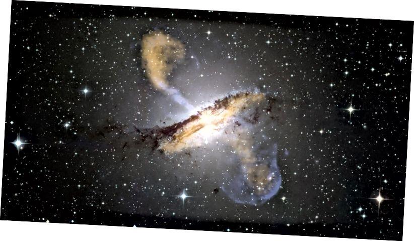 Gambar Centaurus A ini, salah satu galaksi aktif terdekat dengan Bumi, menggabungkan data dari pengamatan dalam beberapa rentang frekuensi (ESO / WFI (optik), MPIfR / ESO / APEX / A. Weiss et al. (Submillimeter), NASA / CXC / CfA / R. Kraft et al. (X-ray))