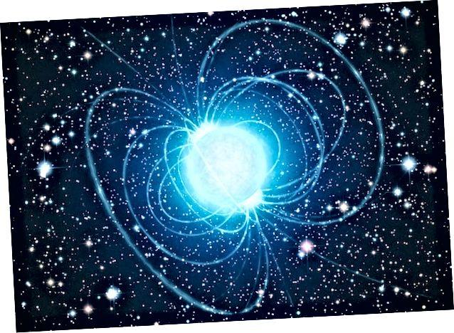 Interpretasi seorang seniman terhadap sebuah magnetar di gugus bintang Westerlund 1— di sekitar mana axion akan menunjukkan perilaku yang tidak biasa