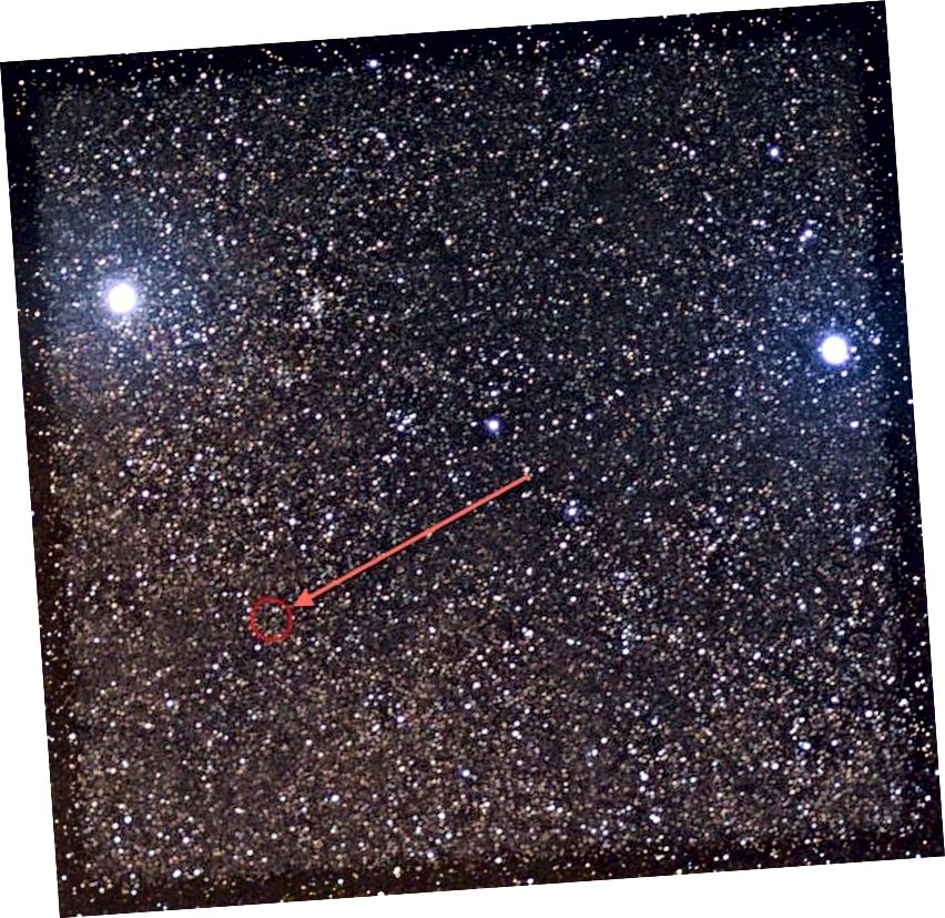 Die Sterne Alpha Centauri (oben links) einschließlich A und B sind Teil desselben trinären Sternensystems wie Proxima Centauri (eingekreist). Beta Centauri (oben rechts), fast so hell wie Alpha Centauri, ist hunderte Male weiter entfernt, aber an sich viel heller. (Wikimedia Commons-Benutzer Skatebiker)
