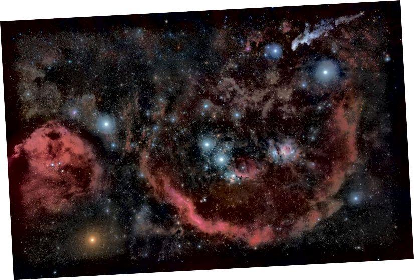 Konstelacja Oriona wraz z wielkim kompleksem chmur molekularnych i jego najjaśniejszych gwiazd. Choć te gwiazdy są imponujące, wszystkie znajdują się znacznie dalej niż 10 parsek; wydają się jasne, ponieważ są wewnętrznie jasne. Gołym okiem widać tylko 51 gwiazd w promieniu 10 parseków. (Rogelio Bernal Andreo)