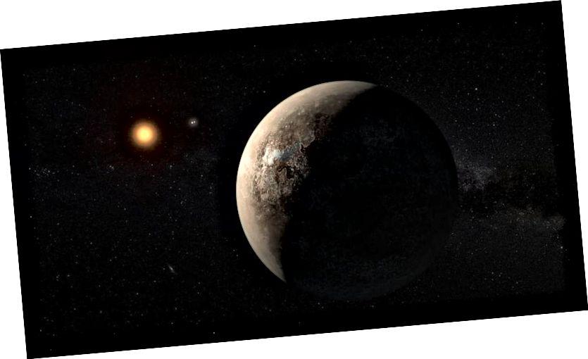 Eine künstlerische Darstellung von Proxima b, die Proxima Centauri umkreist. Mit Teleskopen der 30-Meter-Klasse wie GMT und ELT können wir sie sowie alle äußeren, noch unentdeckten Welten direkt abbilden. Mit unseren Teleskopen sieht es jedoch nicht so aus. (ESO / M. KORNMESSER)