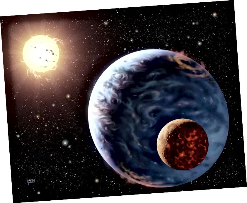 Illustration eines exoplanetaren Systems, möglicherweise mit einem Exomoon, der es umkreist. (NASA / DAVID HARDY, ÜBER ASTROART.ORG)