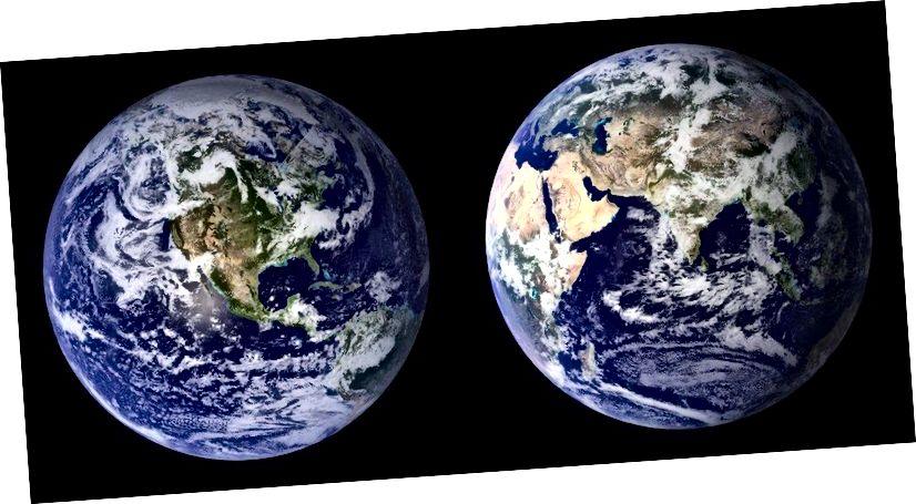 Die zusammengesetzten Bilder des Blauen Marmors von 2001–2002, die mit den MODIS-Daten (Moderate Resolution Imaging Spectroradiometer) der NASA erstellt wurden. Wenn sich ein Exoplanet dreht und sich sein Wetter ändert, können wir Variationen in den Verhältnissen Planetenkontinent / Ozean / Eiskappe sowie das Signal der Wolkendecke herausarbeiten oder rekonstruieren. (NASA)