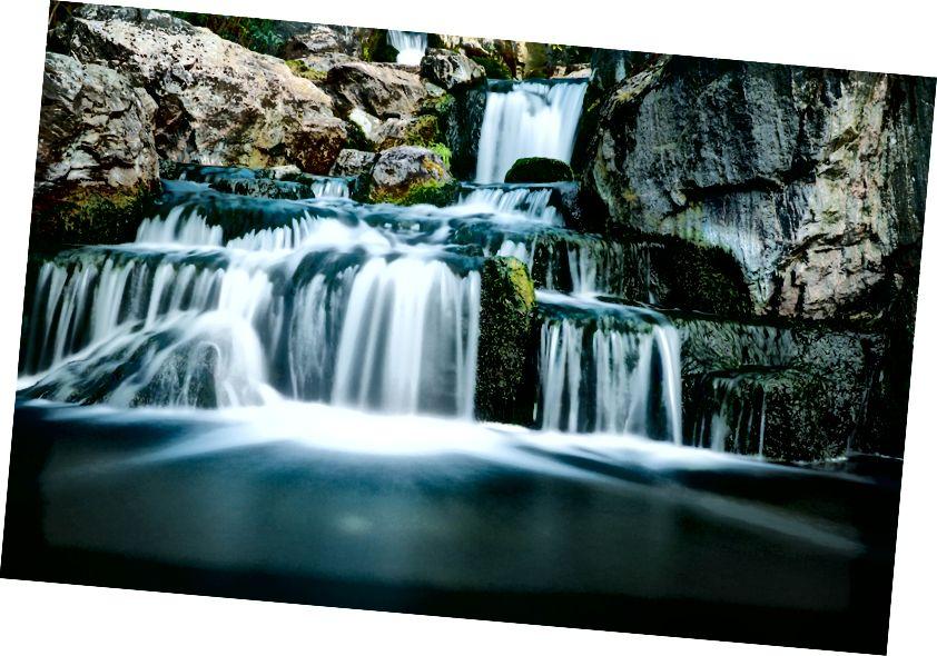 """""""Et forskudt vandfald i bevægelse, der løber gennem et moset klippeberg i Holland Park"""" af www.headsmartmedia.com. Det er tyngdekraften, der gør det muligt for dette vand at fortsætte med at flyde i smukke gardiner."""