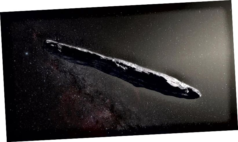 Künstlerische Darstellung von Oumuamua, dem ersten bekannten interstellaren Objekt, das das Sonnensystem passiert. (ESO / M. KORNMESSER)