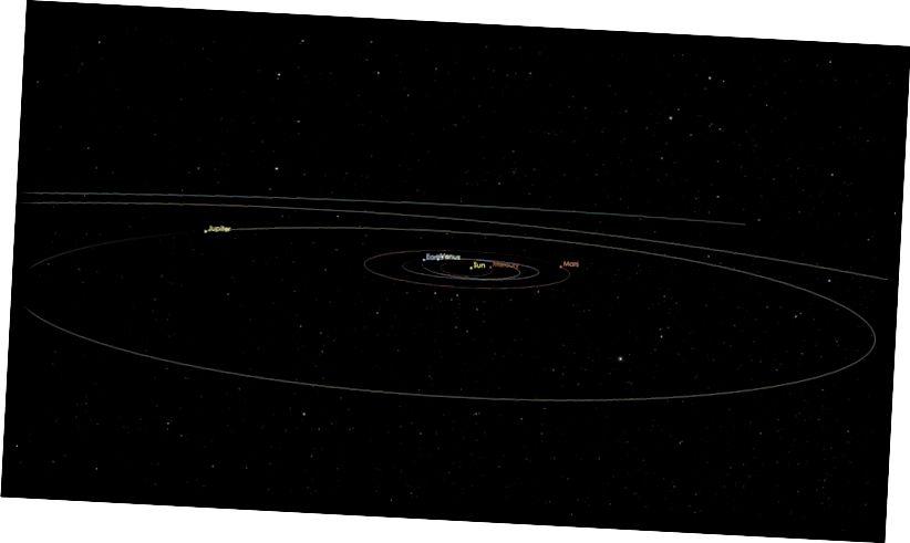 Beochan a thaispeánann cosán an idirphléascóra idir-réaltach ar a dtugtar ʻOumuamua anois. Cuireann an teaglaim de luas, uillinn, ruthag, agus airíonna fisiciúla go léir leis an gconclúid gur tháinig sé seo níos faide ná ár nGrianchóras. (NASA / JPL - CALTECH)