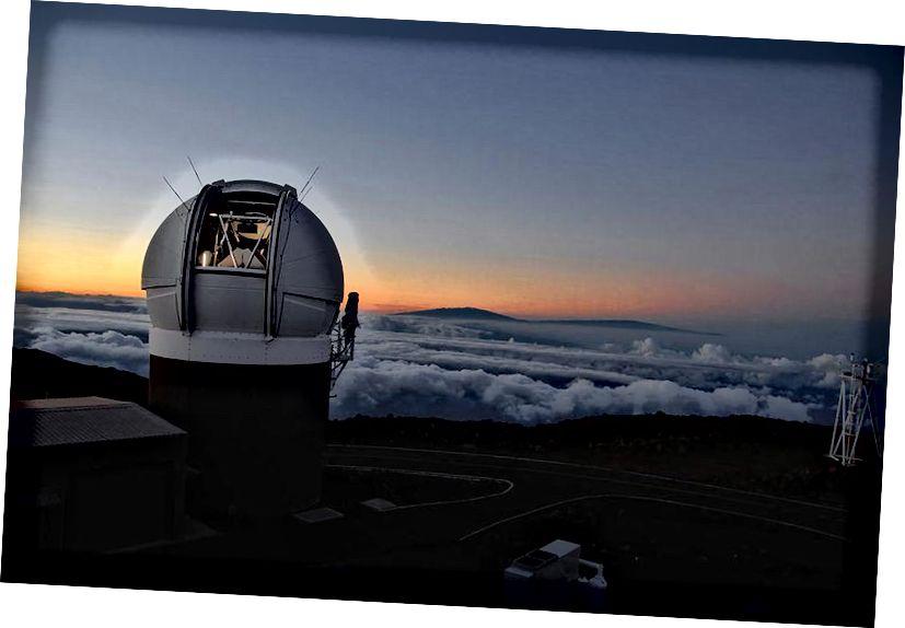 Das Pan-STARRS1-Observatorium auf Haleakala Maui bei Sonnenuntergang. Durch häufiges Scannen des gesamten sichtbaren Himmels bis in geringe Tiefe kann Pan-STARRS automatisch jedes sich bewegende Objekt in unserem Sonnensystem oberhalb einer bestimmten scheinbaren Helligkeit finden. Die Entdeckung von 'Oumuamua wurde genau auf diese Weise gemacht, indem seine Bewegung relativ zum Hintergrund von Fixsternen verfolgt wurde. (ROB RATKOWSKI)