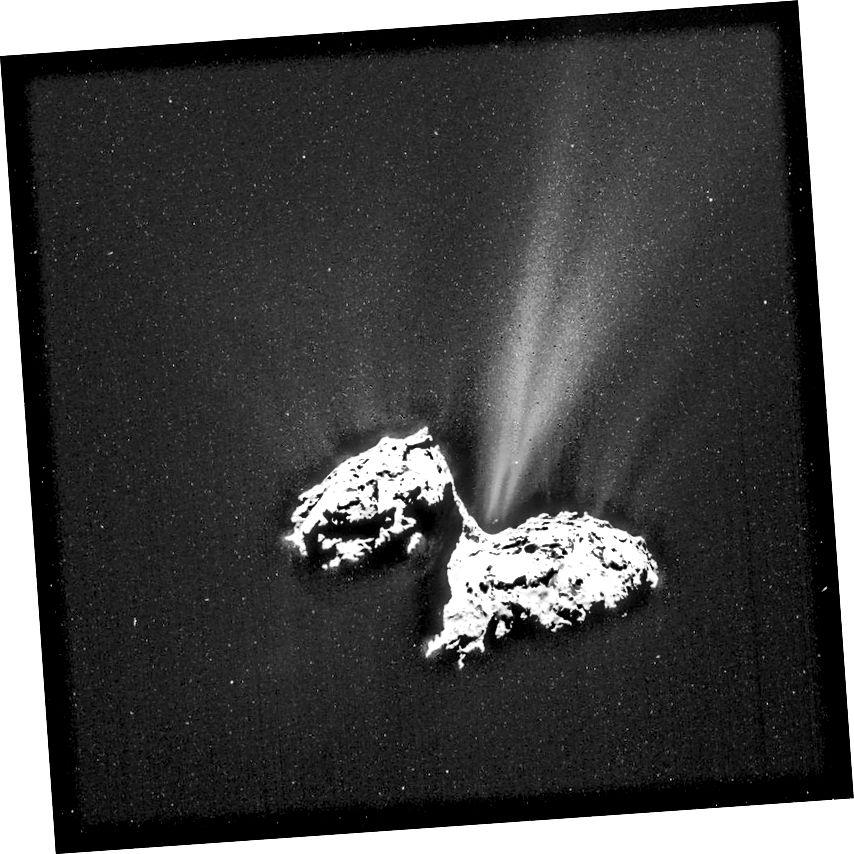 Cóiméad 67P / CG arna íomháú ag Rosetta. 'Tá Oumuamua an-difriúil ó thaobh cruth, méid agus comhdhéanamh dromchla ón gcóiméad seo, ach d'fhéadfadh scaird eisfheartha cosúil leis an gceann seo, más lasmuigh den lár agus as-ais é, a ghluaisne aimhrialta ar shlí eile a mhíniú. (ESA / ROSETTA / NAVCAM)