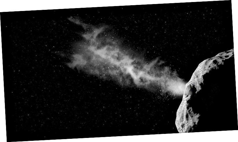 Asteroiden enthalten einige Mengen flüchtiger Verbindungen und können häufig Schwänze entwickeln, wenn sie sich der Sonne nähern. Auch wenn Oumuamua möglicherweise keinen Schwanz oder kein Koma hat, gibt es sehr wahrscheinlich eine astrophysikalische Erklärung für sein Verhalten, das mit Ausgasung zusammenhängt und absolut nichts mit Außerirdischen zu tun hat. (ESA–SCIENCEOFFICE.ORG)