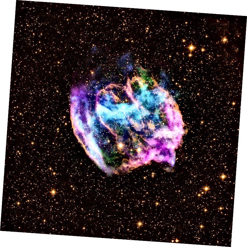 Der Nebel aus dem Supernova-Rest W49B, der noch in Röntgen-, Radio- und Infrarotwellenlängen sichtbar ist. Bildnachweis: Röntgen: NASA / CXC / MIT / L. Lopez et al.; Infrarot: Palomar; Radio: NSF / NRAO / VLA.