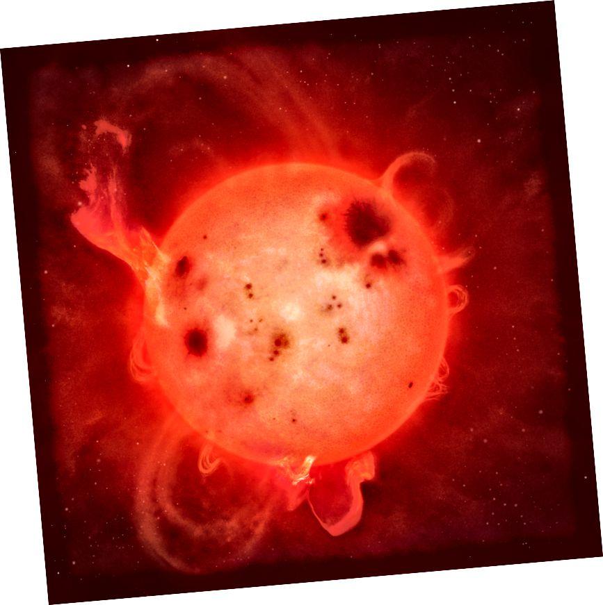 Una impressió d'un superflus en una estrella nana L (Universitat de Warwick / Mark Garlick)