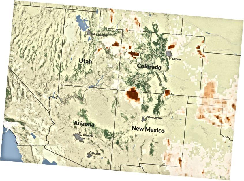 S'ha descobert un plomall massiu de metà (zona marronosa al centre) a prop de la regió dels Four Corners que els científics atribueixen a la producció de gas natural. El mapa anterior mostra les emissions de metà del gas natural i la producció de petroli del 2012, les dades més recents disponibles. Fonts: Inventari Nacional Grutat de les Emissions de Metà dels Estats Units, Stamen DesignCredit: Eric Sagara / Reveal