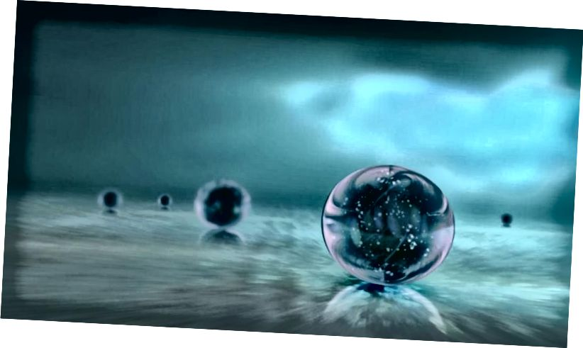 Eine Darstellung mehrerer unabhängiger Universen, die in einem sich ständig erweiternden kosmischen Ozean kausal voneinander getrennt sind, ist eine Darstellung der Multiversum-Idee. (Ozytive / Public Domain)