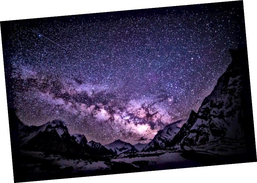 See on Linnutee Concordia laagrist, Pakistani Karakorami mäestikust. Kuigi paljud siin nähtud tähed võivad olla juba surnud, säravad nende tähejäägid endiselt. Pildikrediit: Anne Dirkse / http://www.annedirkse.com.