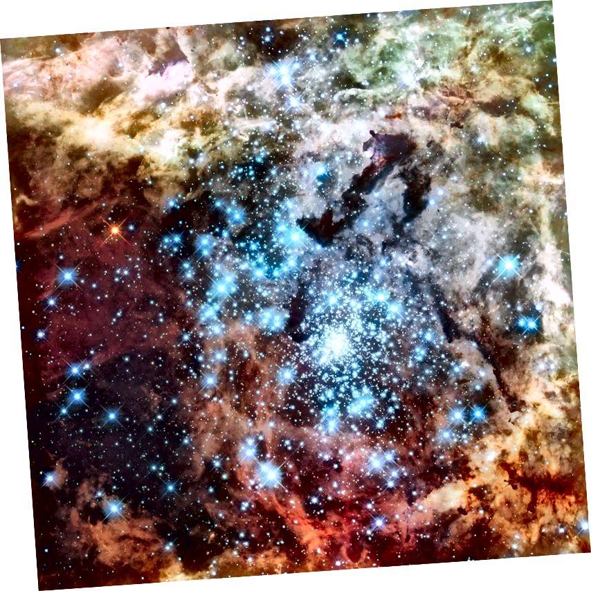 Ühendavate täheparvede Hubble'i kosmoseteleskoop Tarantula udukogu südames, mis on suurim rühmas tuntud tähekujuline piirkond. Kuumimad, sinisemad tähed on meie Päikese massist üle 200 korra suuremad. Pildikrediit: NASA, ESA ja E. Sabbi (ESA / STScI); Tunnustus: R. O'Connell (Virginia ülikool) ja Wide Field Camera 3 teaduse ülevaatuse komitee.