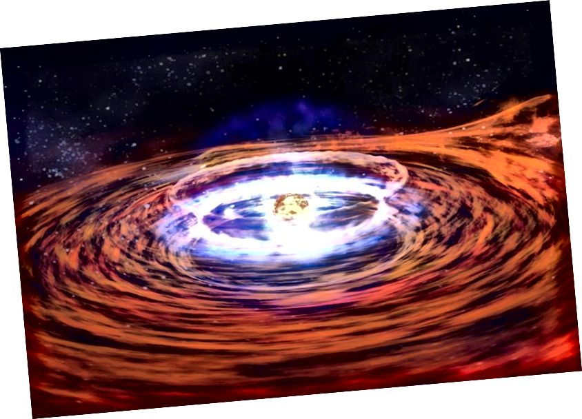 Moodustades supernoovaks läinud massiivse tähe jäänusest, on neutronitäht varisenud tuum, mis jääb taha. Kujutise krediit: NASA.