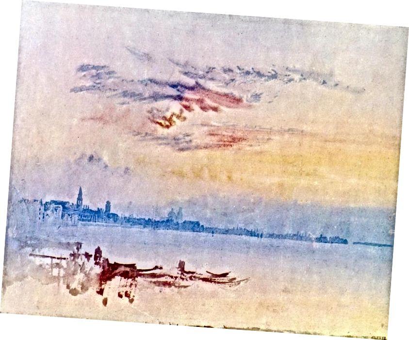 JMW टर्नर: वेनिस: सैन पिएत्रो डि कैस्टेलो की ओर पूर्व की ओर देखना - सुबह का समय। छवि टेट के सौजन्य से।
