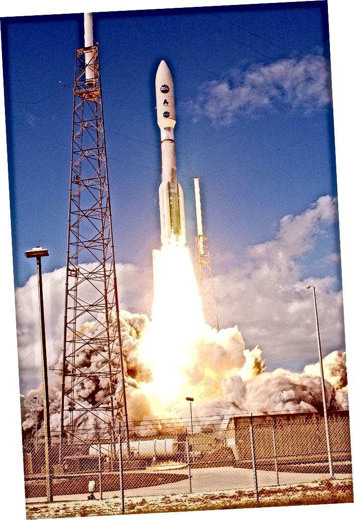 Launch New Horizons. Raketa Atlas V na lansirnoj podlozi (lijevo) i uzleti s rta Canaveral (desno). Izvori: Wikipedia (1 i 2)