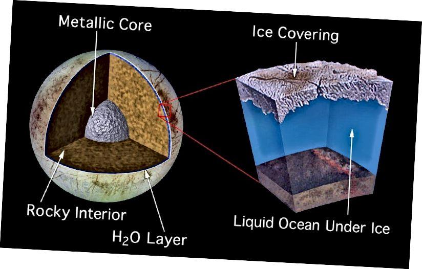 Umjetnička ilustracija prikazuje unutarnju strukturu Jupiterovog mjeseca Europa. Ispod guste ledene obloge vjerojatno se nalazi ocean tekuće vode uzrokovan efektima grijanja plime Jupiterove gravitacije. Izvor: Izvor: NASA