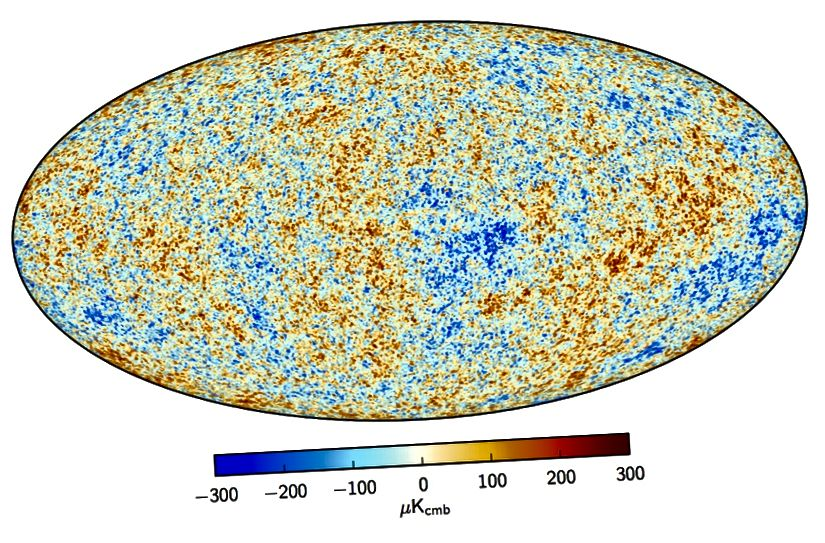 Die Schwankungen über den gesamten Himmel im kosmischen Mikrowellenhintergrund, das übrig gebliebene Leuchten des Urknalls. Bildnachweis: ESA und die Planck-Zusammenarbeit.