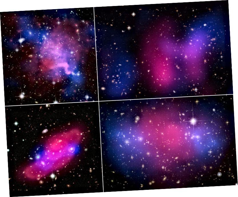 Vier kollidierende Galaxienhaufen, die die Trennung zwischen Röntgenstrahlen (rosa) und Gravitation (blau) zeigen. Bildnachweis: Röntgen: NASA / CXC / UVic. / A. Mahdavi et al. Optisch / Linse: CFHT / UVic. / A. Mahdavi et al. (oben links); Röntgen: NASA / CXC / UCDavis / W. Dawson et al.; Optisch: NASA / STScI / UCDavis / W.Dawson et al. (oben rechts); ESA / XMM-Newton / F. Gastaldello (INAF / IASF, Mailand, Italien) / CFHTLS (unten links); Röntgen: NASA, ESA, CXC, M. Bradac (Universität von Kalifornien, Santa Barbara) und S. Allen (Stanford University) (unten rechts).