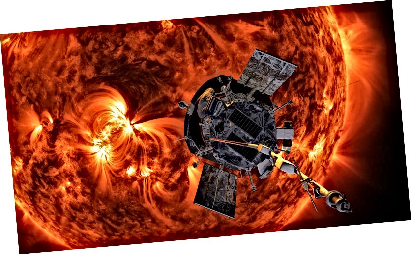 Илюстрация на соларна сонда на Паркър наближаваща Слънцето (кредити: НАСА / Джон Хопкинс APL / Стив Грибен)