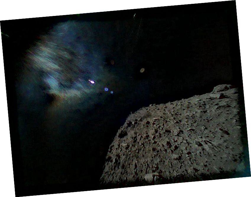 Това е зашеметяващо изображение на изглед от астероид, заснет от роувъра MINERVA-II1B на 21 септември 2018 г., малко след отделянето от космическия кораб Hayabusa2 от Японската агенция за аерокосмически изследвания. (Кредитен имидж: Японска агенция за космически изследвания)