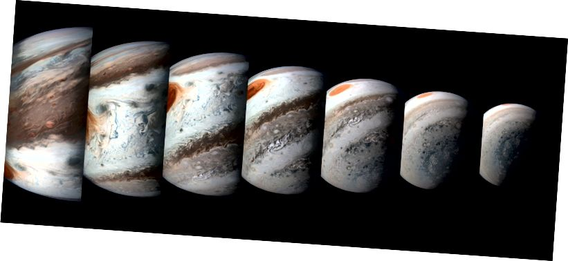 Тази поредица от изображения на Юпитер е създадена от данните на Juno's Imager на 1 април 2018 г. (Image Credits: NASA / JPL-Caltech / SwRI / MSSS / Gerald Eichstädt / Seán Doran)